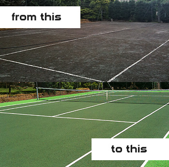 Painted tennis court